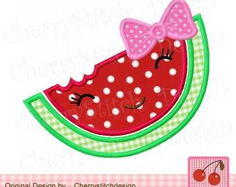Watermelon,Watermelon face Machine Embroidery Applique Design SUM011 -4x4 5x5 6x6 inch