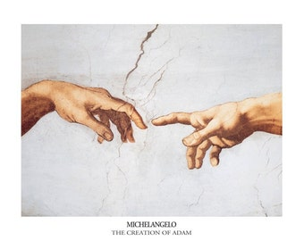 Michelangelo The Creation Of Adam (Detail)  print poster wall art 11 x 14