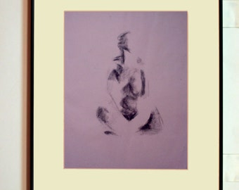 Art print - seated female with crossed legs - gestural charcoal figure drawing from life