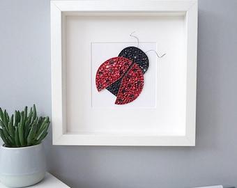 Ladybird gifts, girls room decor, ladybird wall art, personalised gifts, playroom art, ladybird picture, nursery wall art, girls room decor
