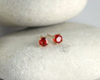 Red Sapphire Earrings in Solid Gold, second hole Songea sapphire earrings in 14K