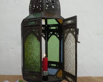 Vintage French Hanging Candle Lantern, Rustic Metal Lantern, North African Lantern, Vintage Glass Lantern, Retro Lantern, Hanging Lighting