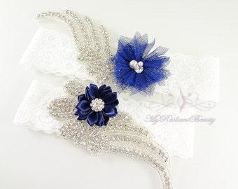 Bridal Garter, Wedding Garter Set, Sexy Garter, Crystal Flower Garter, Bridal Flower Garter, Handmade Custom Garter, Beaded Garter GTF0009NB