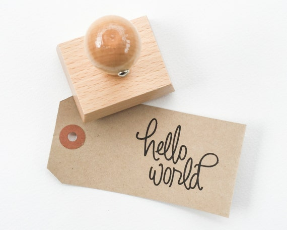 Hello World   Baby Stamp   Baby Shower Stamp   Baby Shower Favor   Hand  Lettered Baby Stamp   READY TO SHIP   Y0001 From Papersushi On Etsy Studio