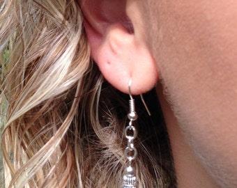 Turquoise Stone Cross Silver Earrings Rondelles, Turquoise Earrings, Cross Earrings, Turquoise and Silver Earrings, Christian Cross Earrings
