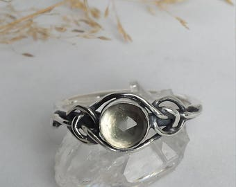 Sterling Silver Ring set with a Rose Cut Prasiolite