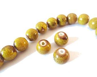 1 x Pearl handcrafted 10mm yellow ANTIQUE porcelain