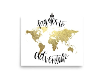World Map Print, Faux Gold Foil, Gold Map, Map Print, Large World Map, World Map Quote, Adventure Quote, Travel Quote, Art Print, Travel