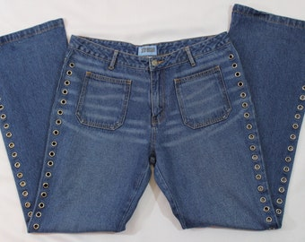 90s does 70s style low rise flare leg denim jeans with grommets up the size size 13 / large