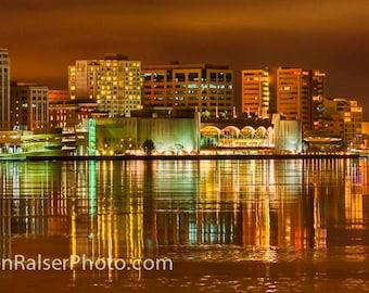Monona Terrace, Madison night view;  Color Photograph