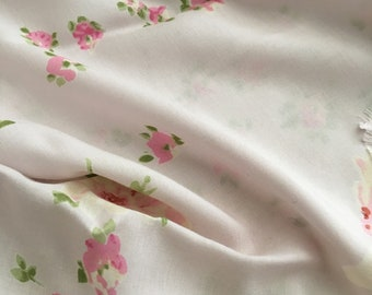 Pale Pink Rayon Fabric, Printed Rayon Staple, Rayon by the Yard, Fabric Yardage, Wide goods