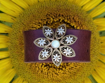 Brown Upcycled Leather Cuff with Vintage Goldtone and Sage Floral Accent
