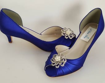 Blue Wedding Shoes with a Crystal and Pearl Flower Blue Bridal Shoes Blue Kitten Heels 100 COLOR CHOICES Cobalt Blue Shoes Royal Blue Shoes