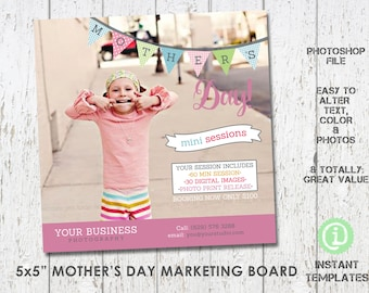 """Mother's Day Marketing Board Mini Session Photoshop Template 5x5"""" - M2MD001"""