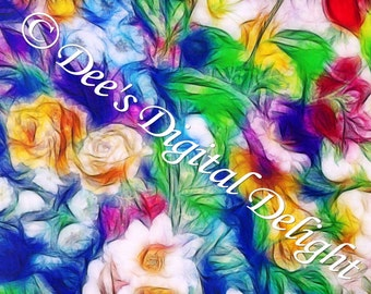 8x10 Flowers Digital impressionism Art Print, Limited Edition, Signed and Numbered