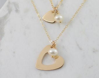 Mother Daughter Necklace. Mother Daughter Heart cut-out necklace set. Heart cut-out necklace set. Mother Daughter Gift