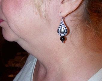 Silver Teardrop Earrings, Black Onyx Earrings, Boho Earrings, Casual Everyday Earrings, Silver Jewelry, Boho Jewelry, Gifts for Her Women