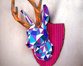 Faux taxidermy Jackalope / bunny with horns   DIY wall mount   3D papercraft trophy   Printable PDF pattern   Low poly horned rabbit