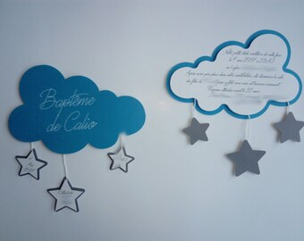 announcement or invitation theme cloud and stars