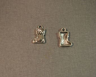 Set of 2 silver boot charm