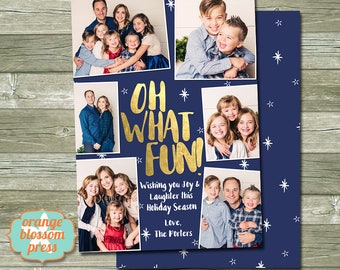 oh what fun christmas card photo christmas card holiday card gold foil