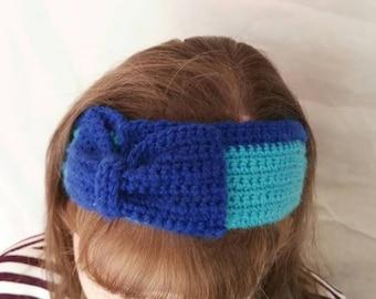 Two tone blue crochet headband/headwarmer.
