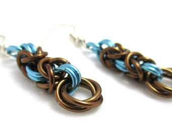 Dark Bronze and Sky Blue Byzantine Chainmaille Earrings - Ready to Ship