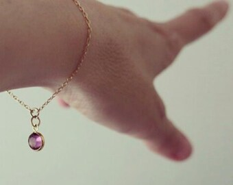 Birthstone Bracelet, Swarovski Crystal Charm, Gold Fill Sterling Silver Chain, Add on Initial, Mother Bridesmaid Gift Jewelry, just1gold