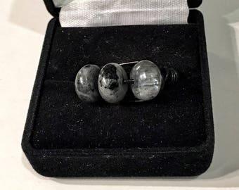 Labradorite, size 7, blackwire wrapped ring