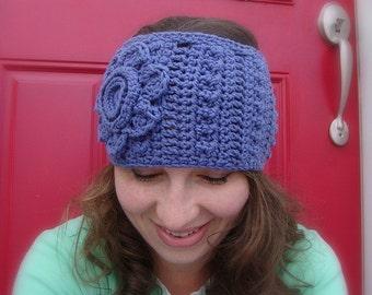 crochet headwarmer pattern - crochet flower headband pattern, earwarmer crochet pattern, headwarmer crochet pattern