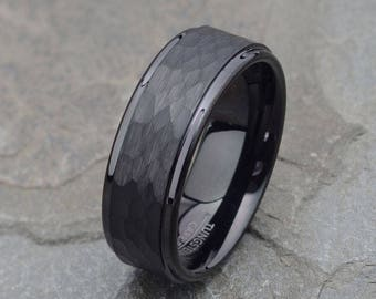 Black Tungsten Wedding Band, Mens Wedding Ring, Personalized Tungsten Ring, 8mm Mens Wedding Band, Brushed Mens Ring, Hammered Tungsten Ring