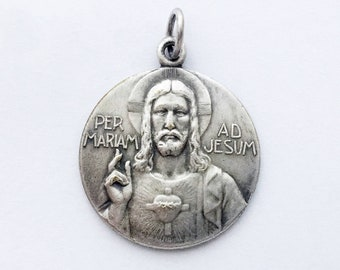 Large Jesus Medal French Holy Medal Jesus Medal Catholic Madonna with Child Pendant Mother Mary Virgin Mary