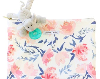 Blush and Navy Floral | Zippered Wet Bag  | Nature-Inspired Travel Bag | Cloth Diaper Zip Pouch | Willow's Wet Bag