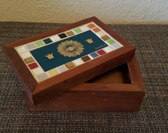 Beautiful! Vintage Mid Century Georges Briard Tile Mosaic Wood Trinket Box
