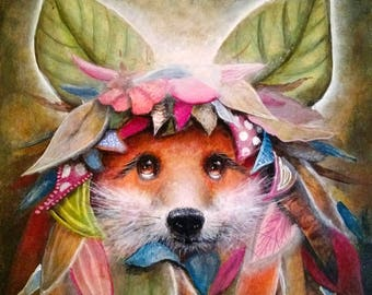 Fox Art Print -  Foxes - Surrealism - New Contemporary Art -  Painting -  Oil Paint - leaves -  animals -  symbiosis