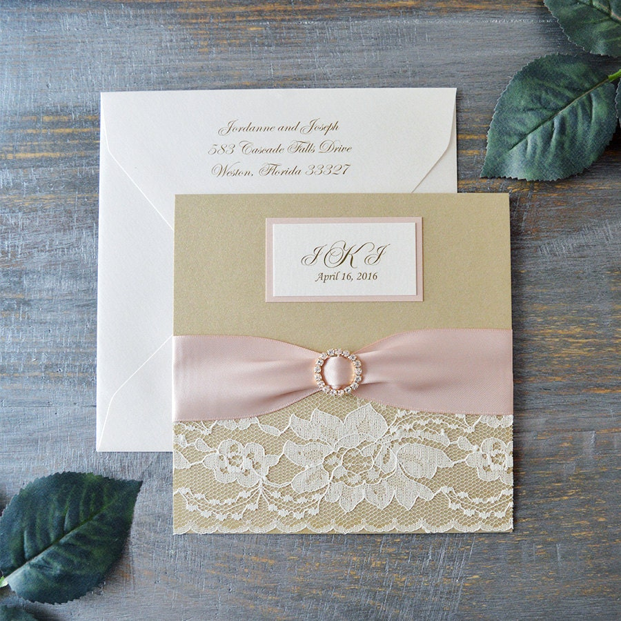 JORDANNE - Lace Pocket Wedding Invitation- Blush and Champagne Gold ...