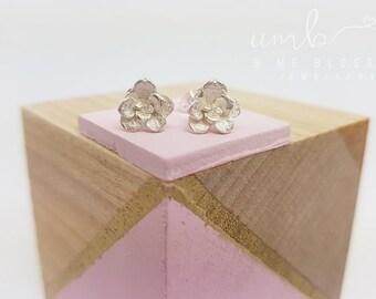 Dainty Succulent Blossom Silver Stud Earrings | Succulent Earrings | Flower Earrings *MADE TO ORDER*