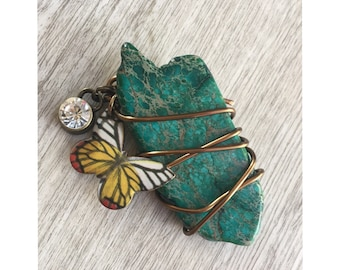 Teal Butterfly Charm Keychain