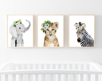 Safari babies nursery set, Animal Paintings, elephant, lion, zebra, watercolor animal, kids poster, baby girl nursery art, nursery art