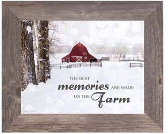 The Best Memories Are Made On The Farm Red Barn Winter Snow Family Home Decor Art Sign Framed Art