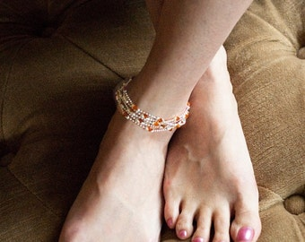Sterling Silver Anklet, Women's Cuff Bracelet , Women's Necklace, Crystals, Semi-Precious Stones, Personalize