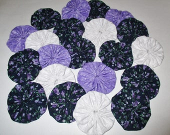 Fabric YoYos, 20 Lavender Floral  And White Prints, 2 Inch Size,  Quilting, Crafting, Appliques