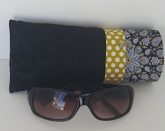 Glasses Case/ Sunglasses Case/ Eyewear Case/ Black & Creamy Polka Dots Glasses Case/ Upholstery Sunglasses Holder/Patchwork Glasses Case