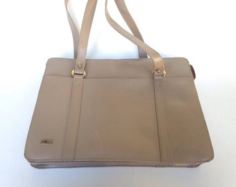 Vintage Taupe Handbag Neutral Purse by Phillippe Beige Day Bag