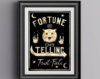 Fortune Teller Art   Tarot Art   Tarot Poster   Occult Art   Vintage Tarot  Sign