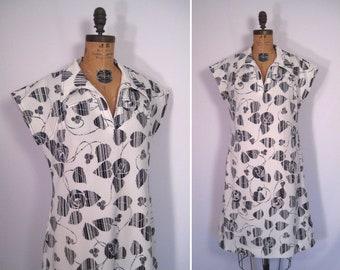 1960s mod monochrome leaf print scooter dress • 60s black and white botanical print dress • vintage Hobnobber Naturally day dress