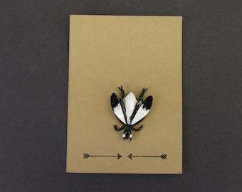 Vintage Black and White Beetle Novelty Brooch (E7839)