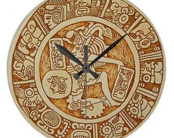 Inca Tribal Warrior Round Wall Clock - Round Acrylic Battery Wall Clock - House Warming Gift - Tribal Decor Clock - Peruvian Inca Wall Clock