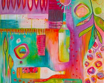 COLORFUL Abstract Contemporary Painting with Flower, nature & Wine titled ITALIAN DAYDREAM