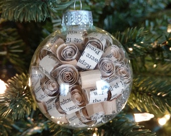 Glass Ornament With Book Page Curls